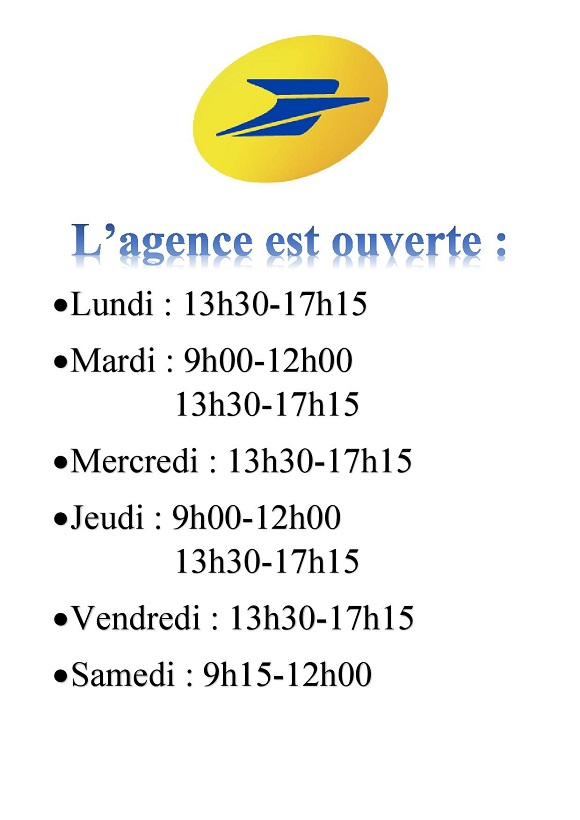 affiche horaires agence postale