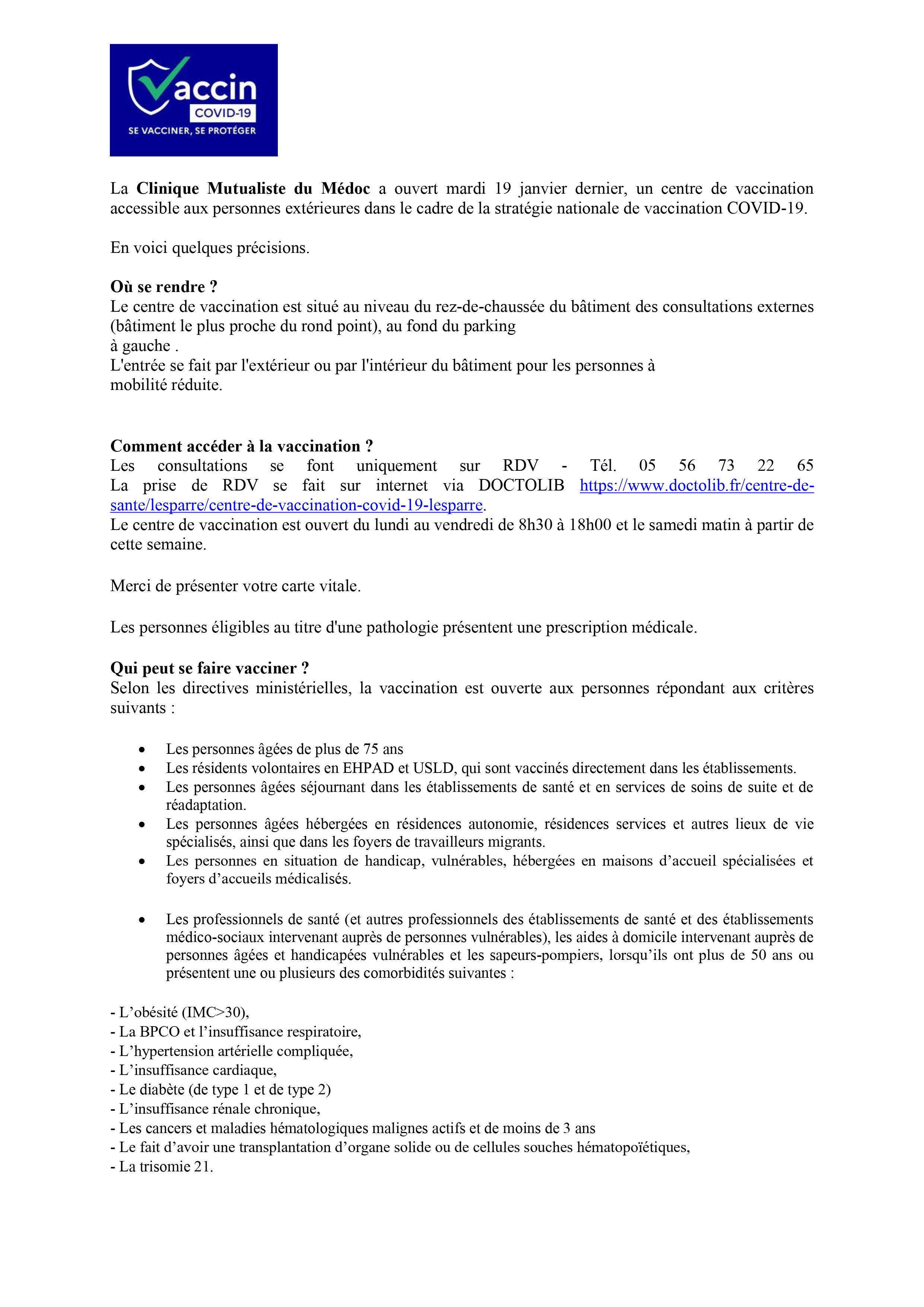clinique mutualiste lesparre vaccination covid 19